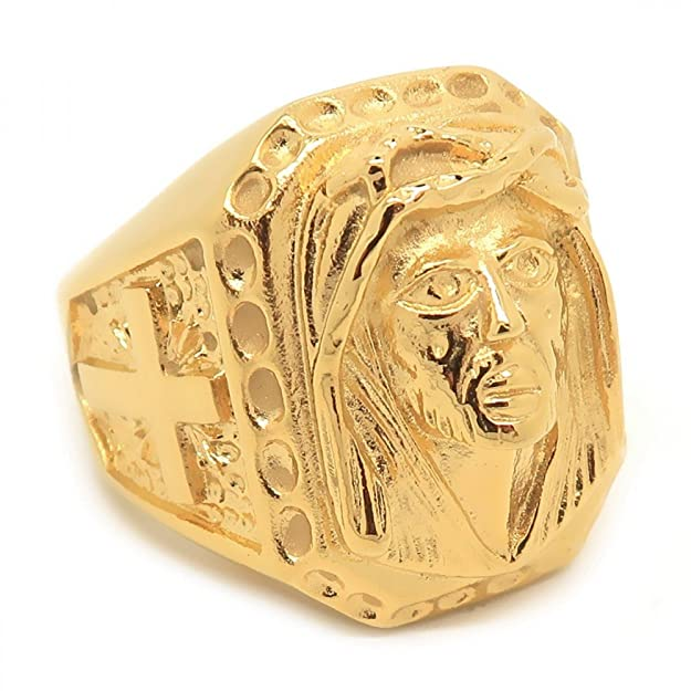 Gran sortija de Sello de Oro en la Cabeza de Jesús Cruz de Acero Inoxidablehttps://amzn.to/2Xng81l
