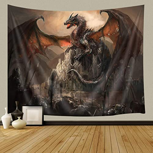 JAWO Fantasy Tapestry, Gothic Dragon on Castle Wall Tapestry, Magical Landscape Tapestry Wall Hanging for Bedroom Living Room Dorm 90X70Inches