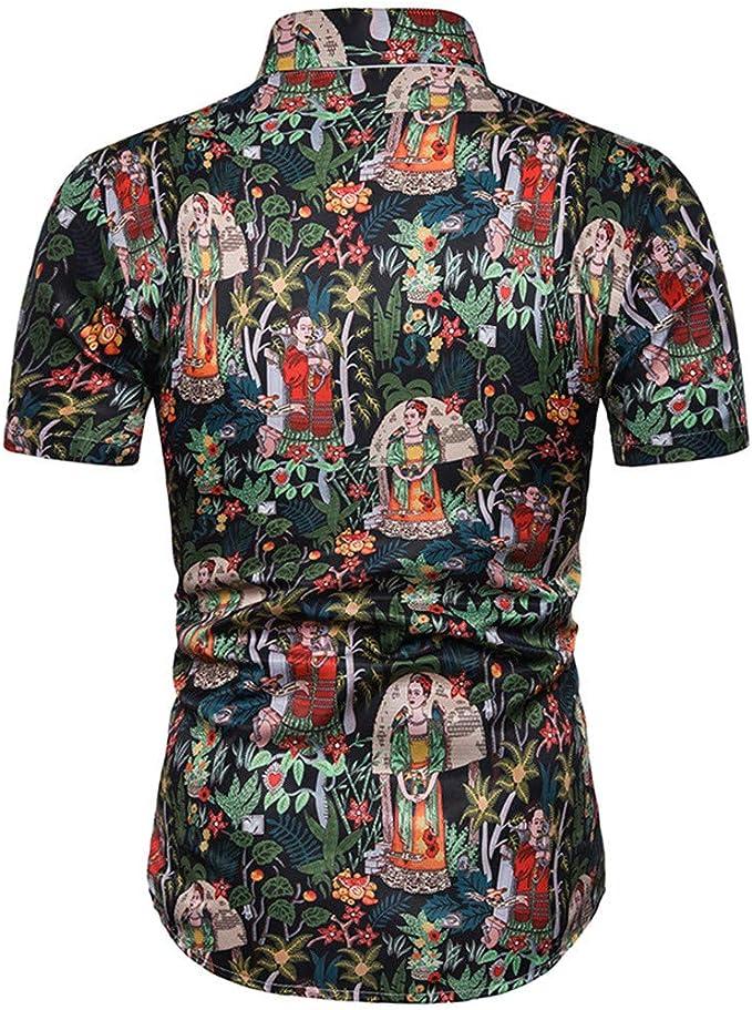 Xmiral - Camisa para Hombre en 3D, Color Moderno, Manga Corta, Estampado Hawai Negro M: Amazon.es: Ropa y accesorios