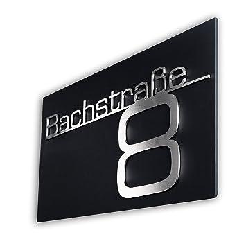mit Wunsch-Schriftzug Stra/ßenname Hausnummer oder Name Hausnummernschild T/ürschild Namensplakette aus Edelstahl