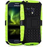 kwmobile Hybrid Outdoor Hülle für Samsung Galaxy S3 Mini mit Ständer - Dual TPU Silikon Hard Case Handy Hard Cover in Neon Grün