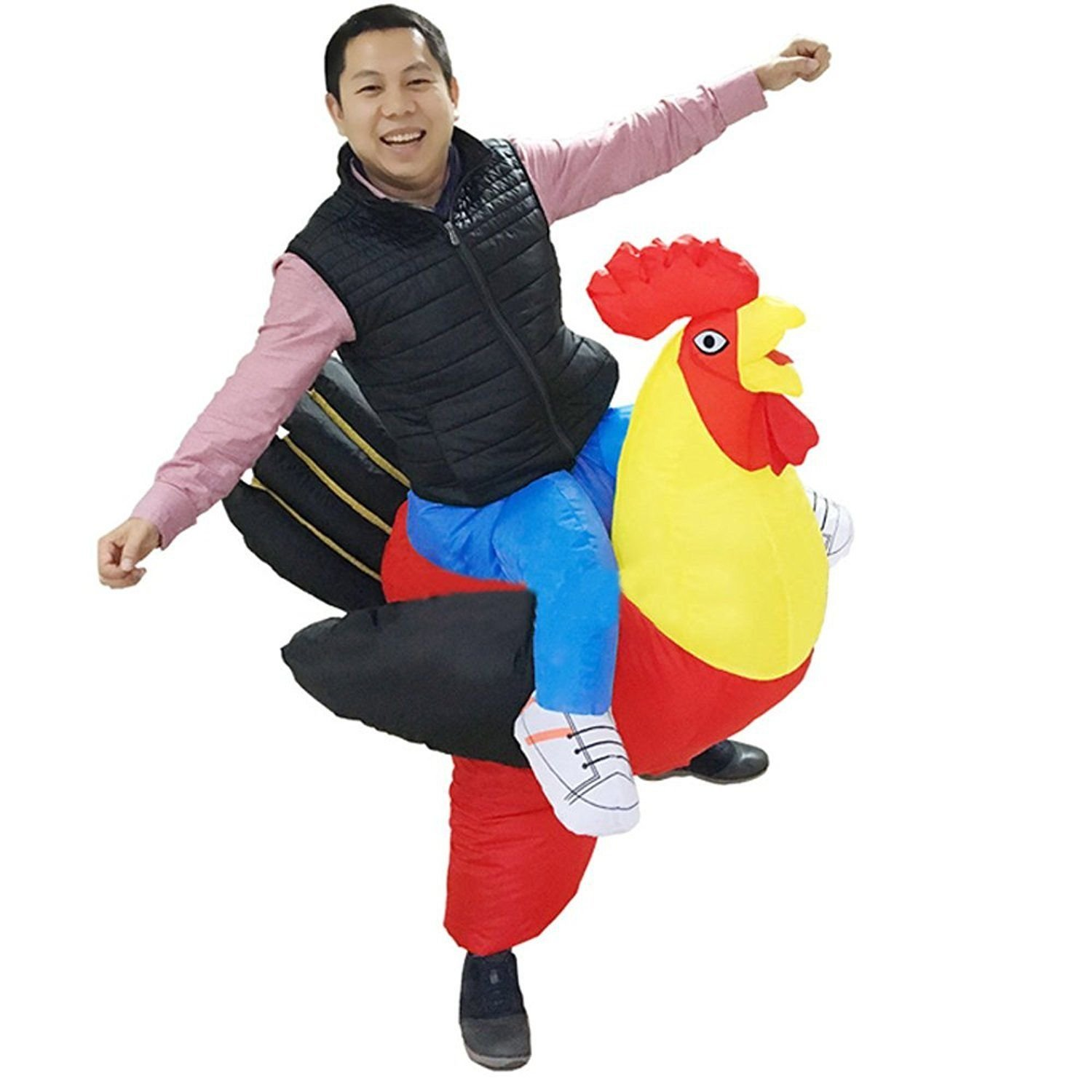 Wecloth Inflatable Chicken Costume Adult Rooster Cock Fancy Dress Cosplay Hen Stag Night Outfit 308Colorful448Sumo-Blue-Child