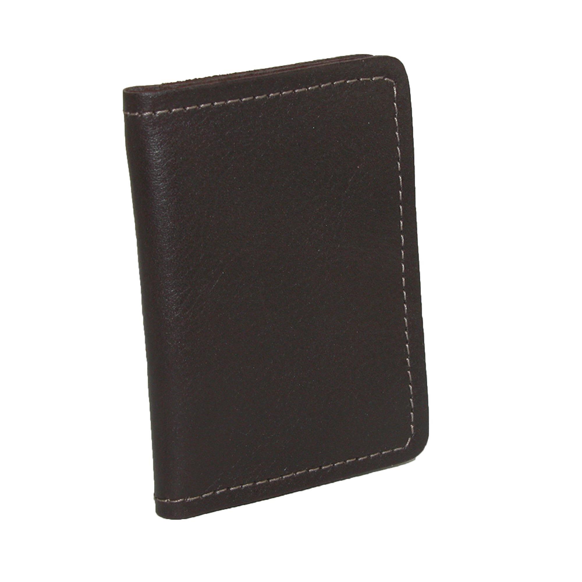 CTM Men's Leather Money Clip BiFold Front Pocket Wallet, Brown
