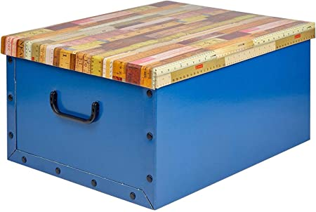 koopp Cartón Grande Cajas Almacenaje con Tapa Caja Almacenaje Caja de Juguetes Mango Temático Tapas - Azul: Amazon.es: Hogar