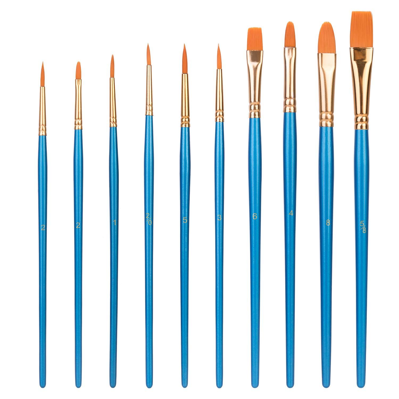 AmazonBasics Art Paint Brush Set, 10 Different Sizes for Artists, Adults & Kids