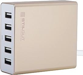 StilGut Hub usb 5 ports avec fonction de charge, station de charge USB doré