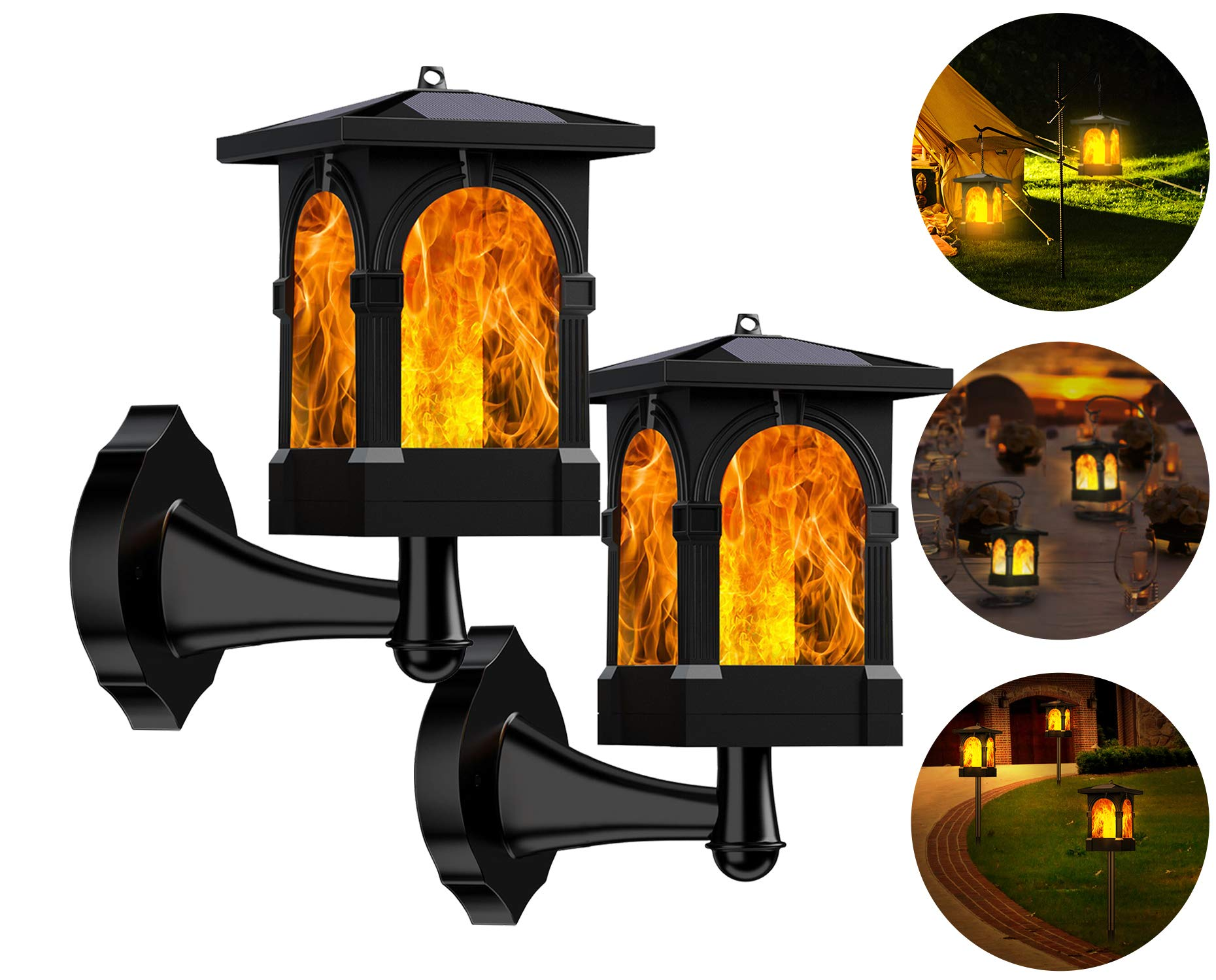 Marlrin Solarlampe Gartenfackeln LED Fackel Solarleuchte Solar Gartenleuchte Hängende Solarleuchten IP65 Wasserdicht 3Mode Mit Realistischen Flammen Auto EIN/Aus USB Wiederaufladbar (2 Stück)