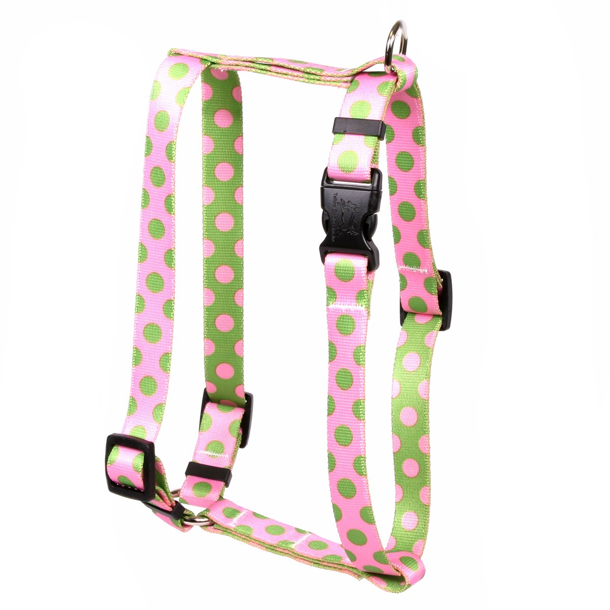 Yellow Dog Design Pink Green Polka Dot Roman Style H Dog Harness, Large-1'' Wide fits Chest of 20 to 28''