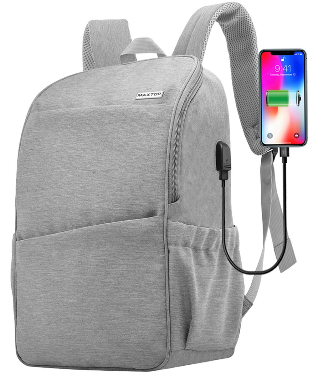 Slim Travel Laptop Backpack,Water Resistant Durable Computer Backpack for Women Men College School Bookbag Business Laptop Bag with USB Charging Port Fits 15.6 Inch Laptop MAXTOP (Light Gray)