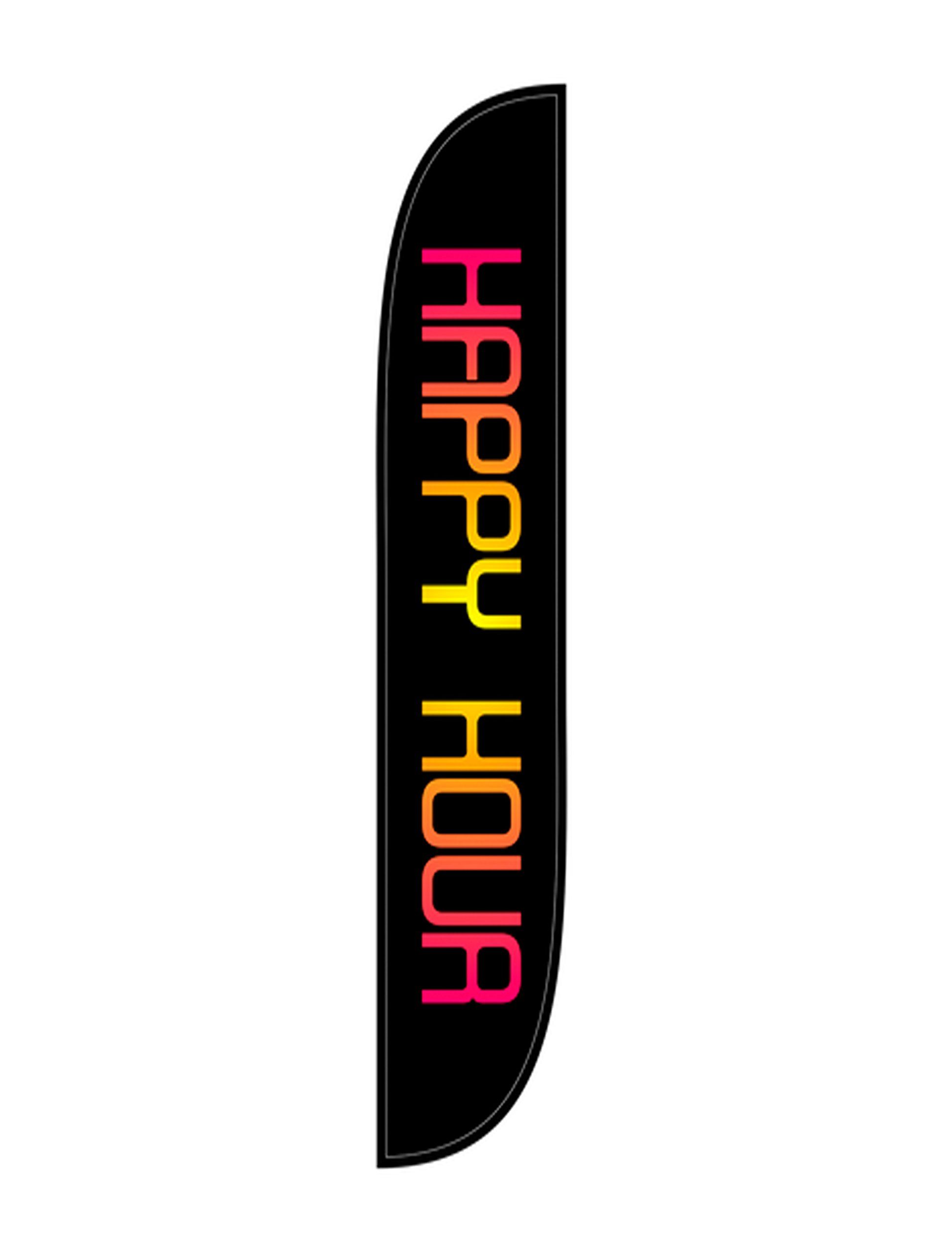 LookOurWay Happy Hour Feather Flag Complete Set with Pole & Ground Spike by LookOurWay
