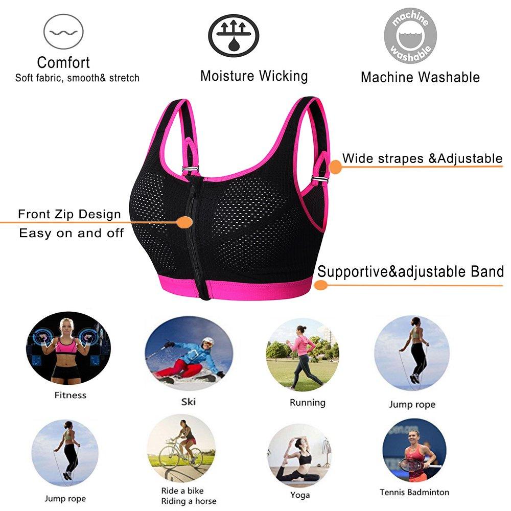 13e41ec87119c newlashua Women s Full Support Sports Bra Padded Push Up Yoga Wirefree Bra  XX-Large Pink
