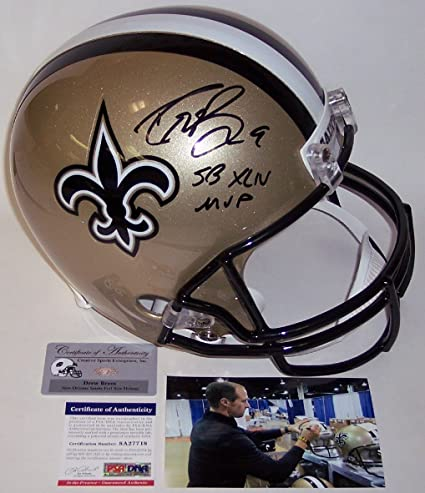 4d1716ca6 Amazon.com: Drew Brees Autographed Hand Signed New Orleans Saints Full Size  Football Helmet - With SB XLIV MVP Inscription - PSA/DNA: Sports  Collectibles