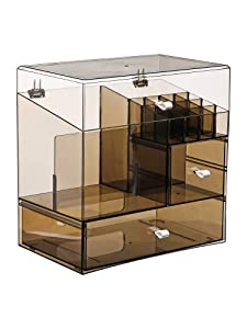 MOOCHI Tranlucent Black Large Makeup Organizer Multifuncational Dust Free Water Proof Cosmetics Storage Drawers Display Case for Brushes Lipsticks Skin Care Jewelry - Pearls Not Included