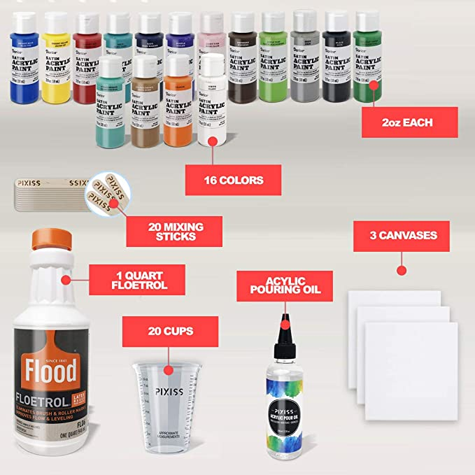 Amazon Com Acrylic Paint Pouring Kit Floetrol Pouring Medium