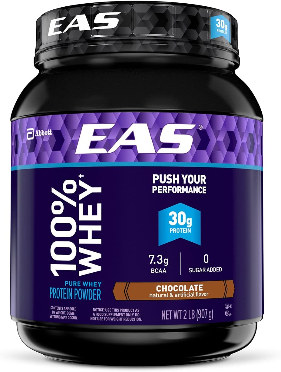EAS 100 Pure Whey Protein Powder, Chocolate, 2 lb Packaging May Vary