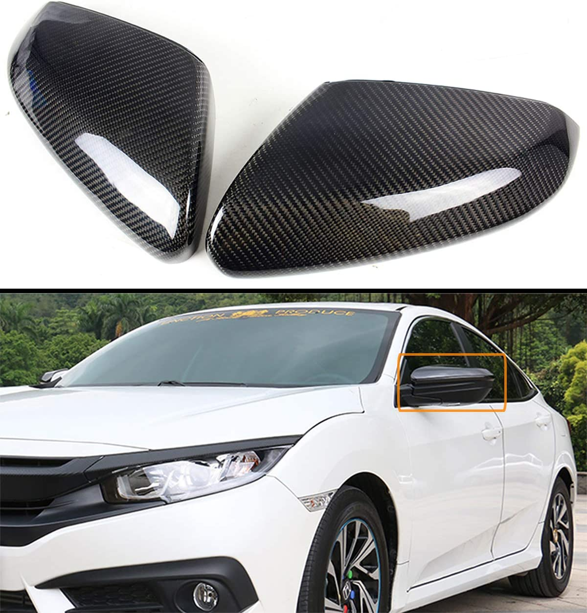 1 Pair Side Mirror Covers Accessories For Honda Civic 10th Gen 2016-2019 Useful