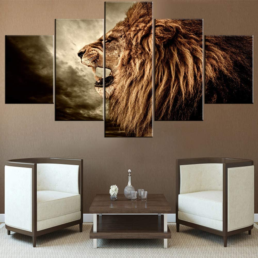 Wall Decorations for Living Room Brown Howling Lion Paintings Black Sky Scape Pictures 5 Piece Canvas Wall Art Contemporary Artwork House Decor Framed Ready to Hang Posters and Prints(60''Wx32''H)