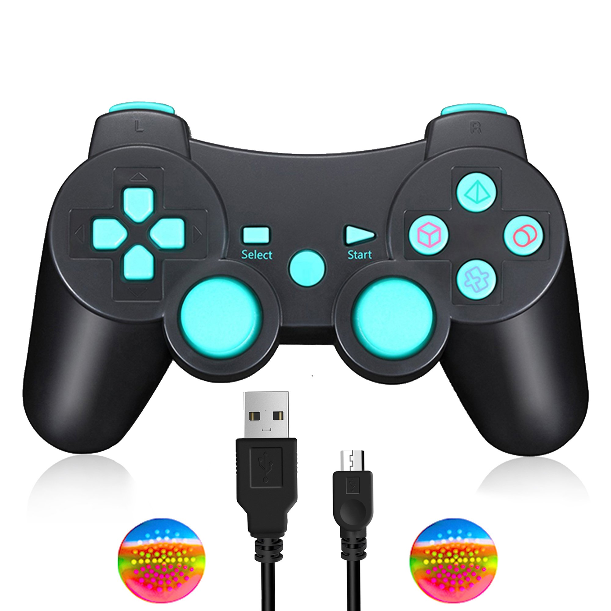 TPFOON Wireless Controller Dual Shock Gamepad Compatible with Sony PS3 / Raspberry Pi 3, SIXAXIS Joypad Remote for Sony Playstation 3 DualShock 3 - Charge and Play Cable Included
