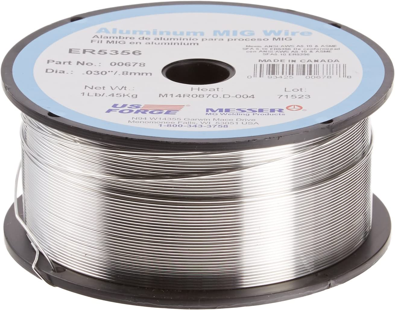 Eastwood Solid Mig Wire 0.023 in Pound Spool Carbon Steel Mig Copper Coated Solid Welding Wire