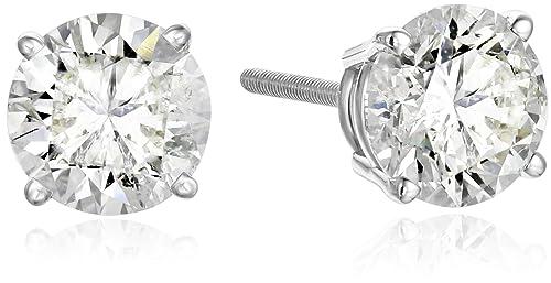 IGI Certified 14k White Gold Round Cut Diamond Stud Earrings 2 cttw, K-L Color, I1-I2 Clarity