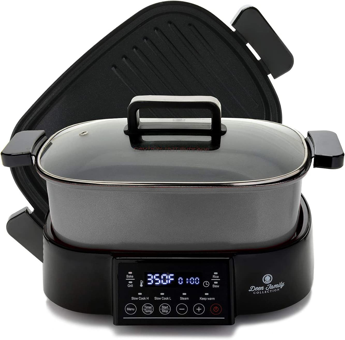 Deen Family 2-in-1 6QT (1250 Watt) Multi Cooker and Grill with Glass Lid, 8 Cooking Functions to Bake, Grill, Slow Cook High, Slow Cook Low, Steam, Keep Warm, Stew and Rice, Removable Pot and Grill Pan, Easy Clean Ceramic Coating (Stainless)