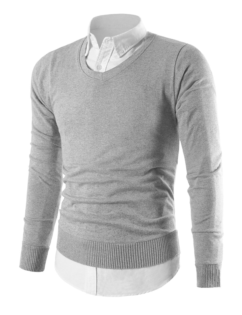 MIEDEON Mens Slim Comfortably Knitted Long Sleeve V-Neck Sweaters