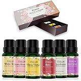 Aceites Esenciales,Naturales ESSLUX Flores Aceites Esenciales para Humidificador Difusor Top 6 Set Natural Puro, Rosa…