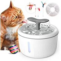 QIUQIU Cat Water Fountain,2L Automatic Pet Water Fountain Super Quiet with 4 Pet Toys/Filter/LED Water Level Window…