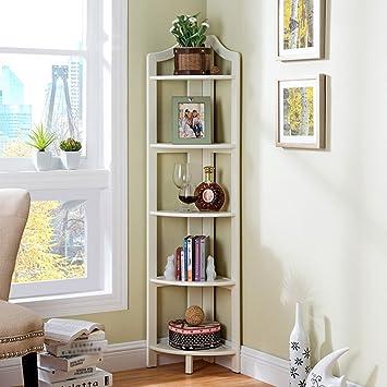 QIANGDA Fan Shaped Bookshelf 5 Layers Bookcase Floor Standing Bookrack Storage Rack Flower Shelf