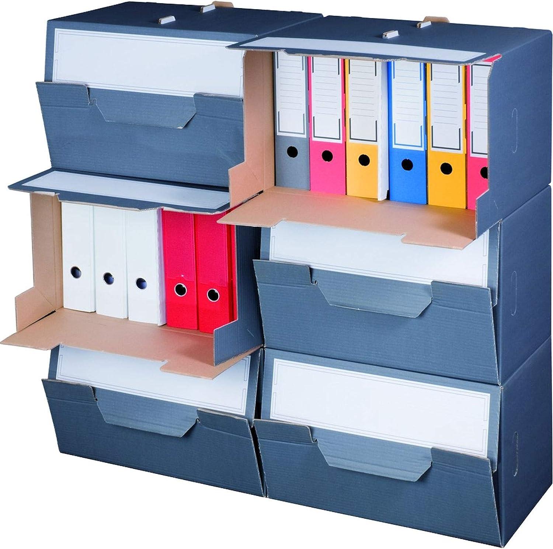 KK Verpackungen/® Archivboxen Archivschachteln mit Frontklappe f/ür bis zu 6 Ordner 10 St/ück Archivkartons mit Beschriftungsfeldern in Anthrazit