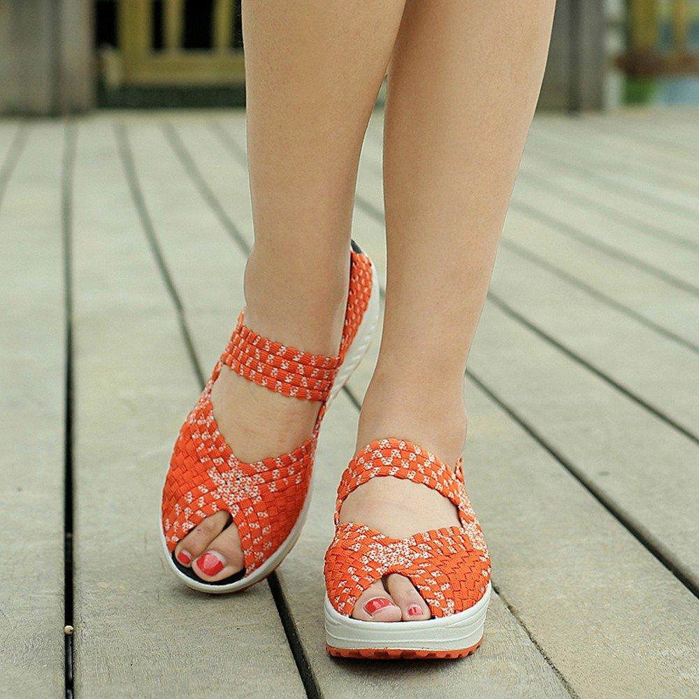Clearance Sale Sneakers For Women,Farjing Women Casual Peep Toe Sports Shoes Woven Breathable Flat Sandals Sneakers(US:7.5,Orange)