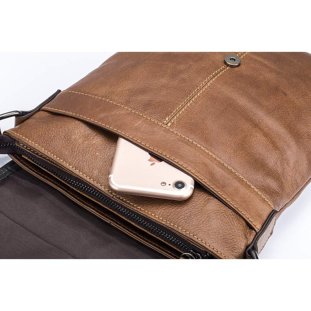 X-xyA Mens Casual Crossbody Bag Genuine Leather Shoulder Bag Outdoor Sports Anti Theft Messenger Bag Purse,Black