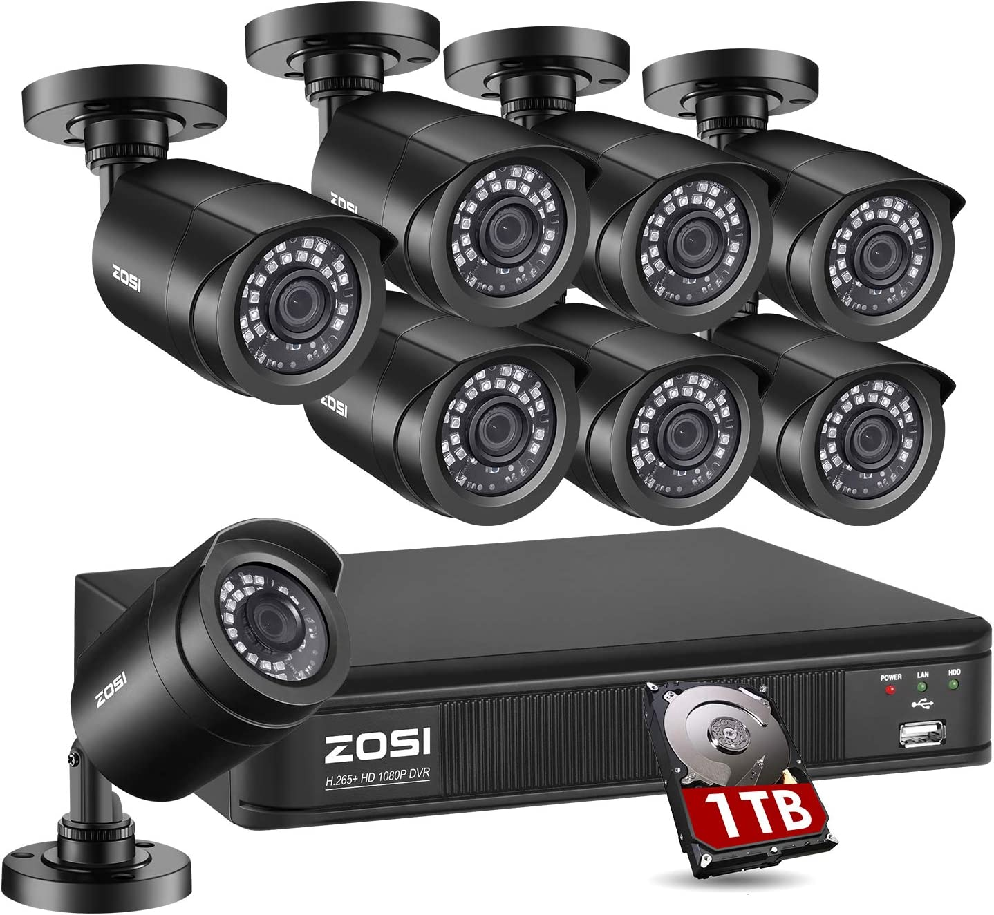 ZOSI H.265+1080p Home Security Camera System Outdoor Indoor, 5MP Lite CCTV DVR Recorder 8 Channel with Hard Drive 1TB and 8 x 1080p Surveillance Bullet Camera with 80ft Night Vision, Motion Detection
