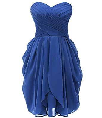 macria Womens Chiffon Bridesmaid Dress Short Sweetheart Homecoming Prom Gown Size 6 Royalblue