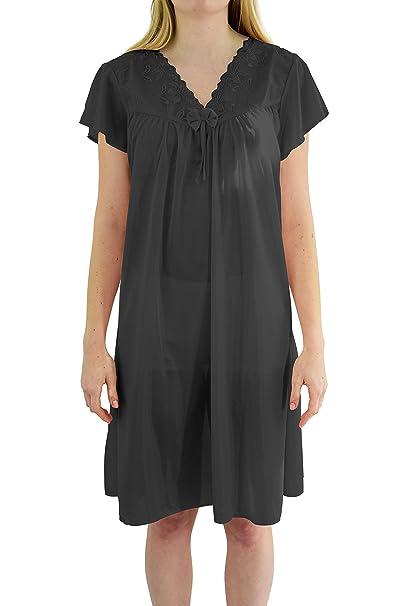 4c9d6d1965 Ezi Women s  Wendy  Cap Sleeve Satin Nightgown at Amazon Women s ...