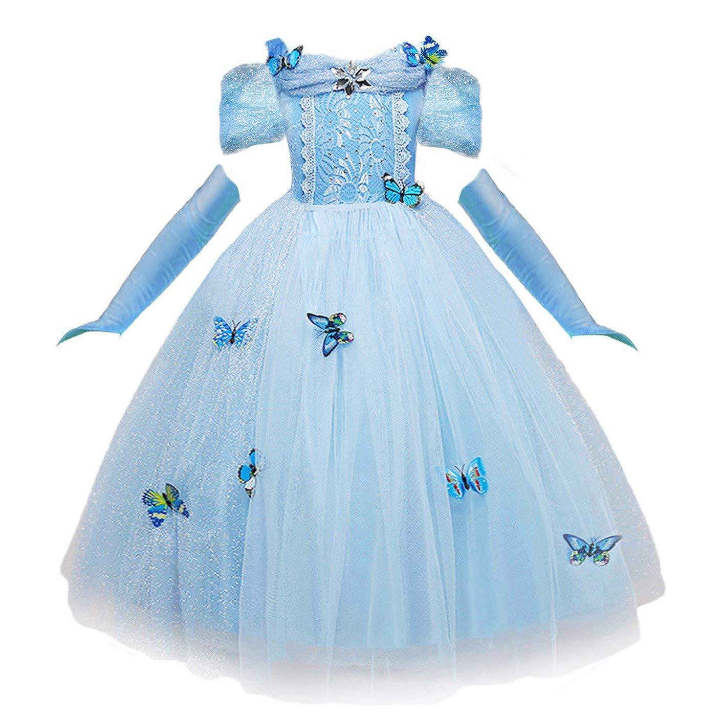 NNDOLL Vestido de Cenicienta Trajes de Carnaval niña pequeña Princesa Azul Claro Mariposa Manga Corta Vestido (130 (5-6 años)