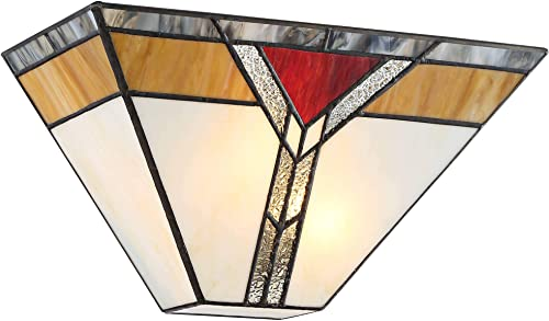 Darley Tiffany Style Wall Sconce Lighting Bronze Hardwired 6 1/2″ High Fixture Art Deco Stained Glass
