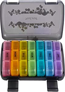 Pill Organizer 3 Times a Day, FGcase Large Weekly Pill Case 7 Day, Daily Pill Box with 21 Compartments, Pill Dispenser Supplement Holder for Pills/Vitamin/Fish Oil - Rainbow Black
