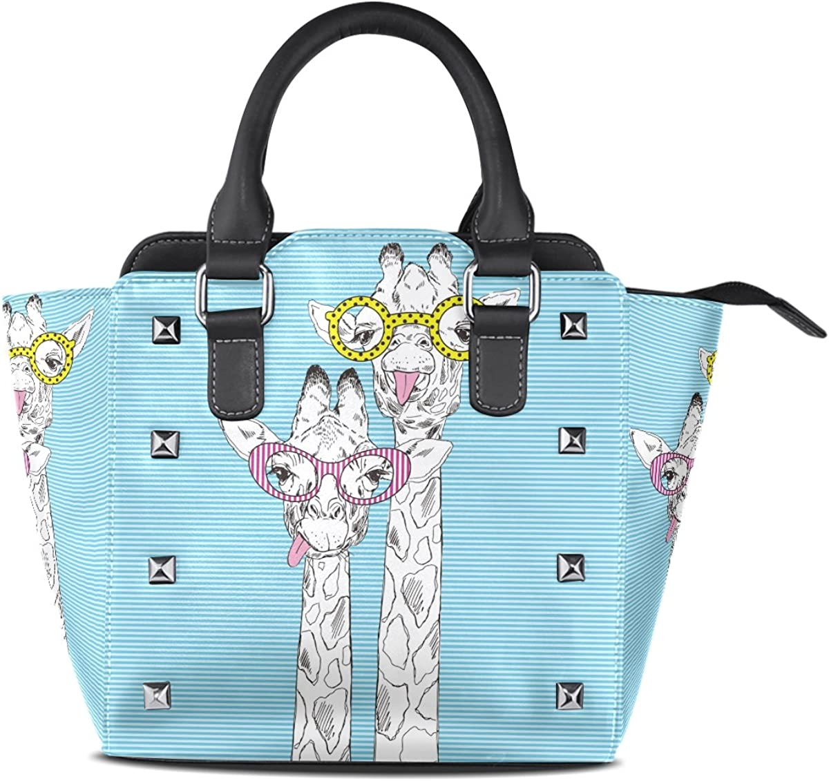 Use4 Womens Blue Striped Cute Giraffe Rivet PU Leather Tote Bag Shoulder Bag Purse