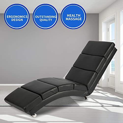 Aoxun Massage Recliner Chair – Leather Ergonomic Modern Upholstered Chaise Lounge for Indoor Furniture Vibrant Type Message – Black