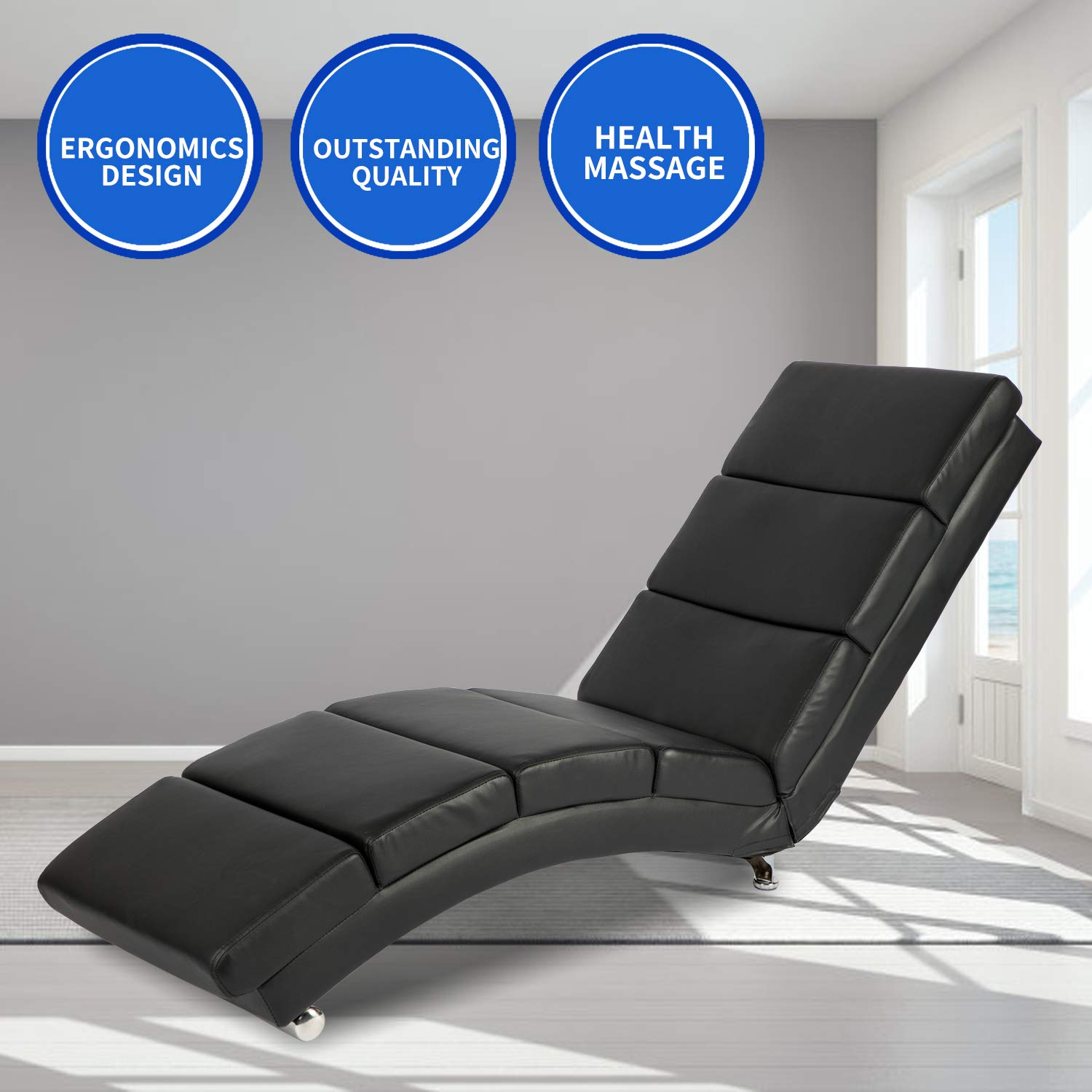 Aoxun Massage Recliner Chair - Leather Ergonomic Modern Upholstered Chaise Lounge for Indoor Furniture (Black) by Aoxun