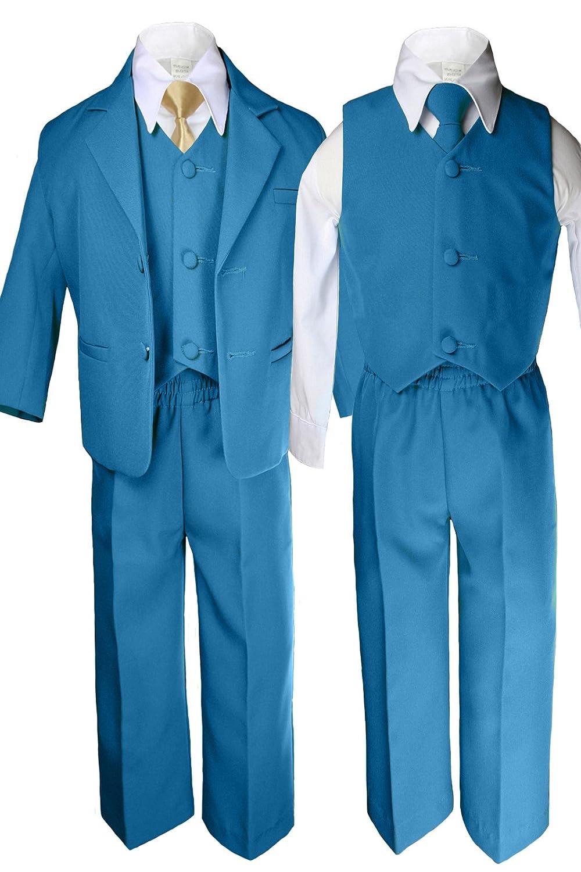 6pc Boy Wedding Oasis Malibu Teal Blue Formal Suit MUSTARD Necktie Set Sm-14