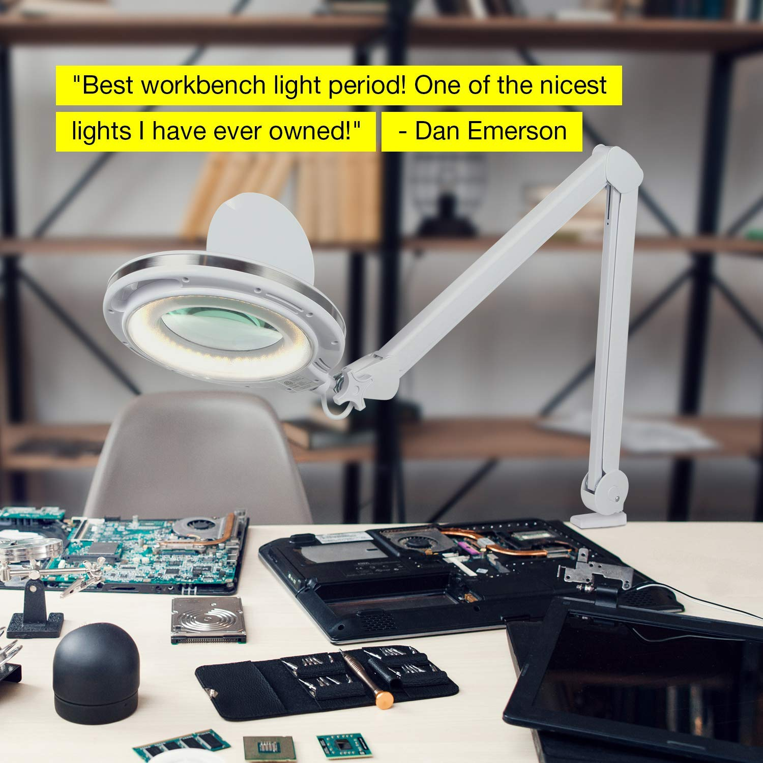 Brightech LightView PRO - LED Magnifying Glass Desk Lamp For Close Work - Bright, Lighted Magnifier for Reading, Crafts & Pro Tasks - Light Color Adjustable & Dimmable - 1.75x Magnification by Brightech (Image #3)