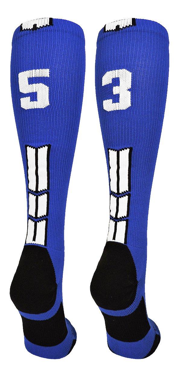 Pair MadSportsStuff Royal//White Player Id Custom Over The Calf Number Socks
