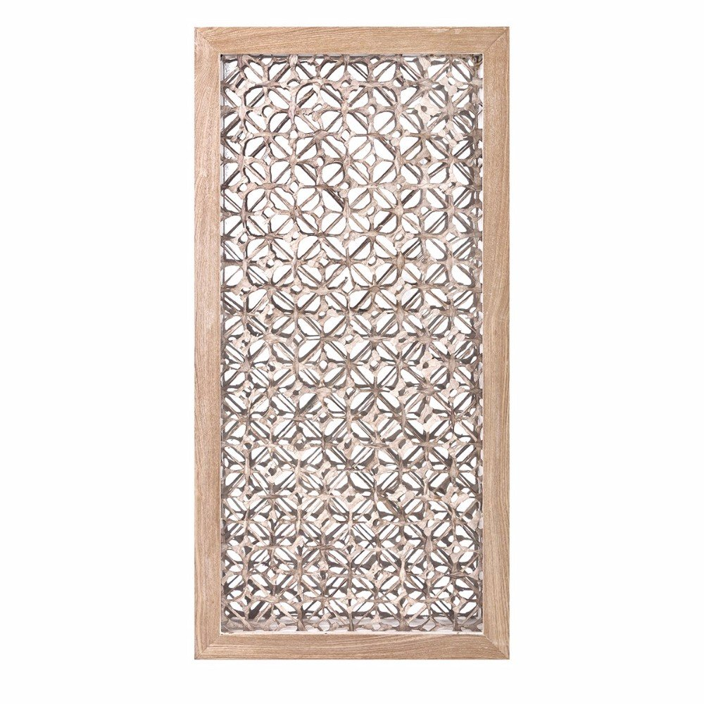 Rectangular Wall Art With Wooden Frame, Brown and Gold