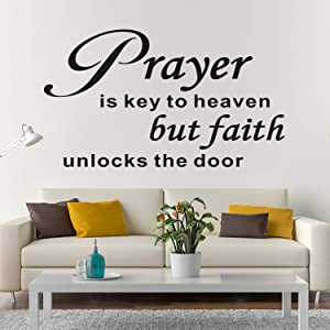 AnFigure Bible Verse Wall Decal, Religious Wall Decals, Quotes Biblical Christian Church Prayer Jesus Sayings Home Art Decor Vinyl Stickers Prayer is Key to Heaven But Faith Unlocks The Door 21