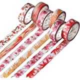 Molshine Decorative Japanese Washi Masking and Adhesive Tape - Season Color - Collection, 0.59 Inch x 7.6 Yards (Set of 6 Roll) for DIY– Autumn WCL01C