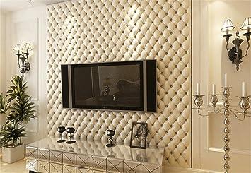 Continental Kunstleder Effekt PVC Tapeten Wohnzimmer TV Wandverdickung  Stereoskopische 3D Tapete 10mx53cm (weiß
