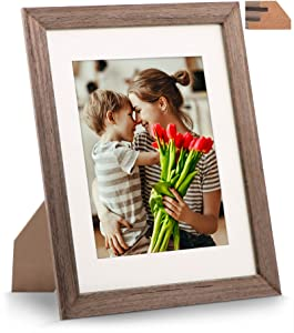 8.5x11 Black-Walnut Wood Picture Frame, Perfect for 6x8 with Mat or 8.5 x 11 Document, Diploma, Certificate, Artwork, Prints or Photo (Real Glass Front)