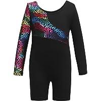 Leotards for Girls Gymnastics with Shorts Sparkle Leopard Print Dance Unitards Biketards